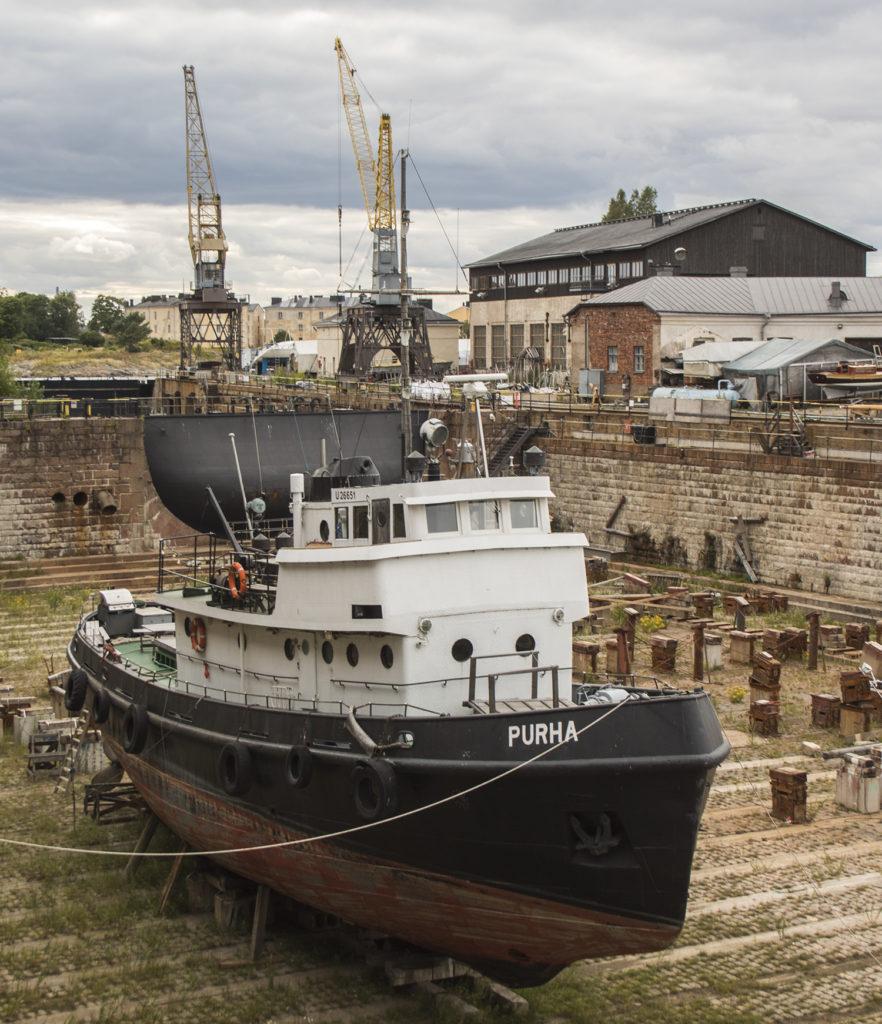 A dry dock in Suomenlinna Sea Fortress in Helsinki