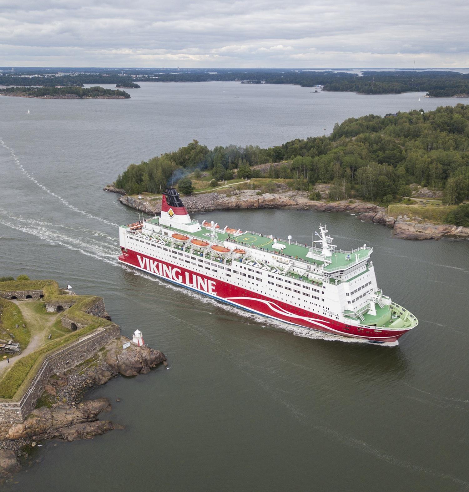 Vikingline ferry in Kustaanmiekka strait in Suomenlinna Sea Fortress